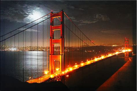 york cityscape golden gate bridge painting pictures on canvas with led light stretched and