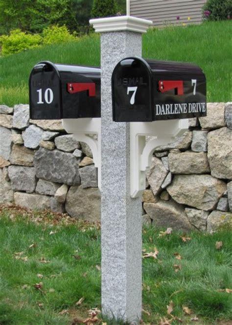 granite mailbox post 2 sidemount mailbox braces post cap