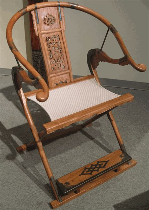 Asian Furniture: Folding Horseshoe Back Arm Chair from