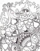 Coloring Adult Drug Printable Trippy Grown Ups Abstract Mandala sketch template