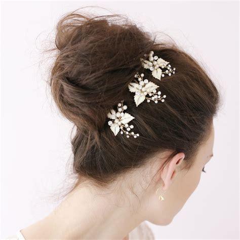 bridal flower hair pin enamel leaf tiaras bobby pin bridal hair