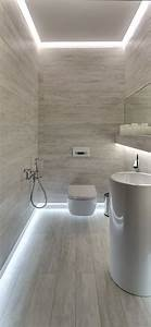 how to light your bathroom right designrulz With carrelage adhesif salle de bain avec white led strip