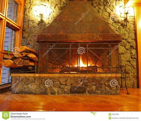 huge burning fireplace royalty  stock image image