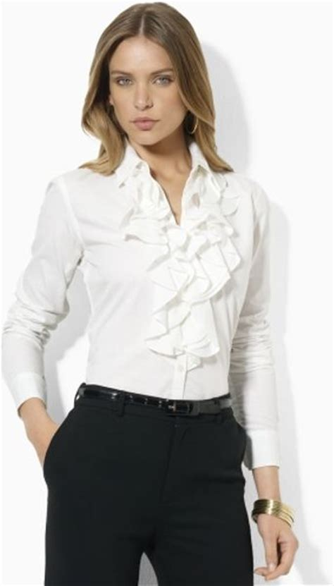 ruffled blouses by ralph mandelle ruffled blouse in white lyst