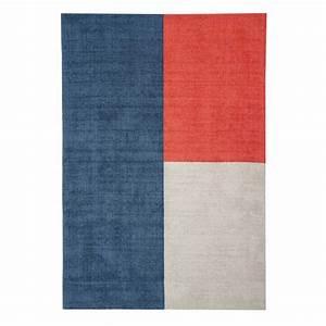 Tapis Forme Geometrique : tapis moderne en laine multicolore formes g om triques bleu beige et rouge ~ Teatrodelosmanantiales.com Idées de Décoration