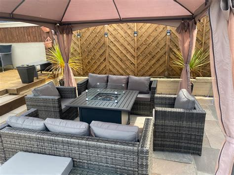 andalusia xl square firepit table set rattan 9 seat