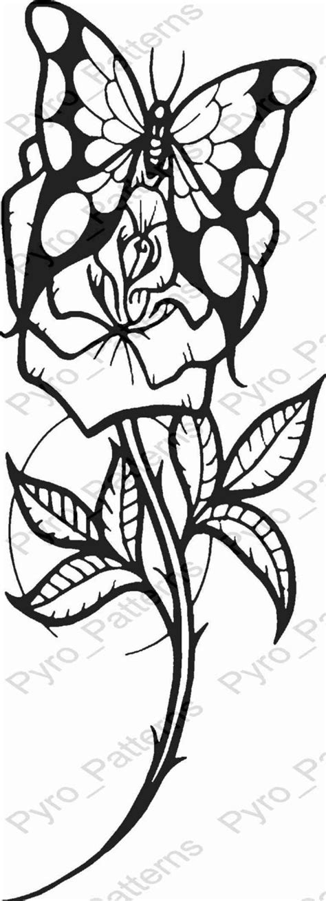 pyrography wood burning butterfly rose pattern printable
