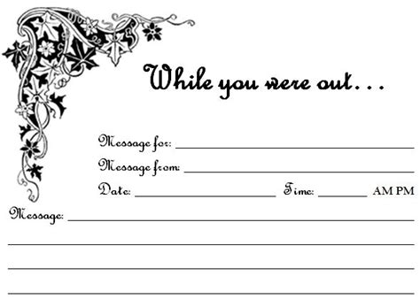 printable     phone message sheets