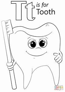 Letter T is for Tooth coloring page | Free Printable ...