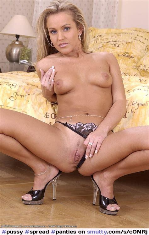 Pussy Spread Panties Thong Tits Milf Blonde Heels