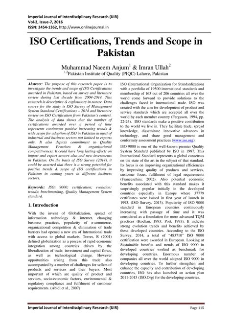 (PDF) ISO Certifications, Trends and Scope in Pakistan