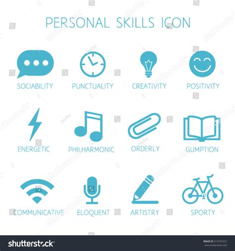 resume skils icons personal skills icon self characteristic vector stock