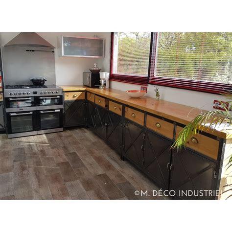meuble de cuisine industriel cuisine de style industriel acier et bois massif m déco