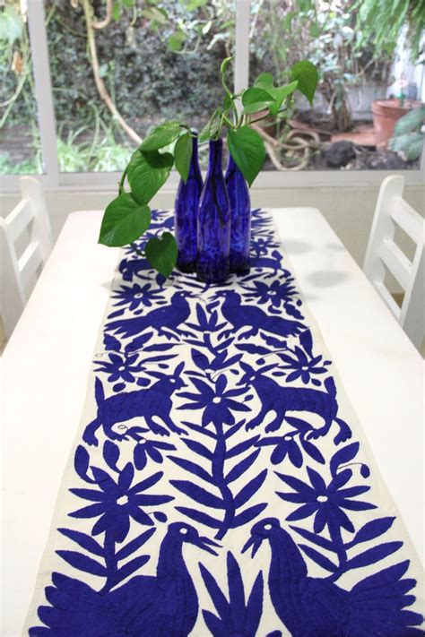 pre order cobalt blue hand embroidered otomi table runner