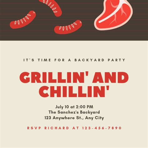customize  bbq invitation templates  canva