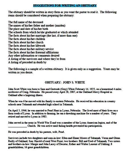 obituary template printable