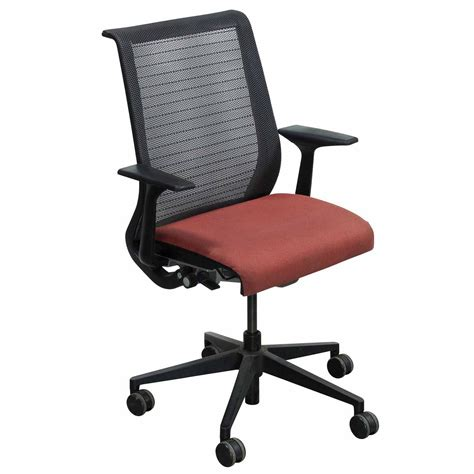 steelcase think used mesh back conference chair rust