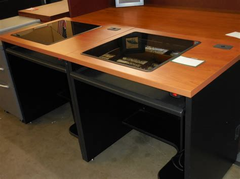 used view glass top computer desk with monitor 39