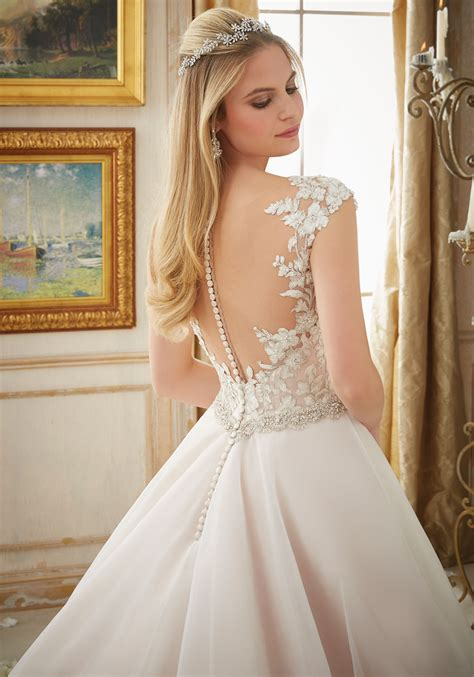 vintage embroidery  organza ball gown style  morilee