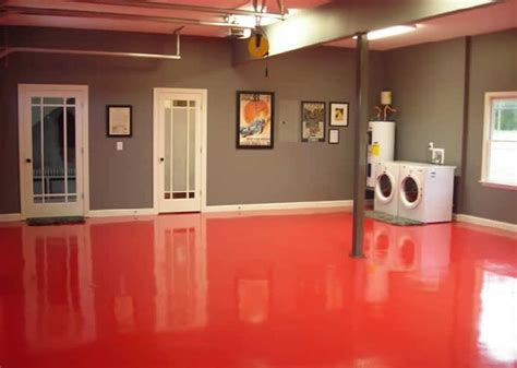 red floor grey walls basement flooring basement
