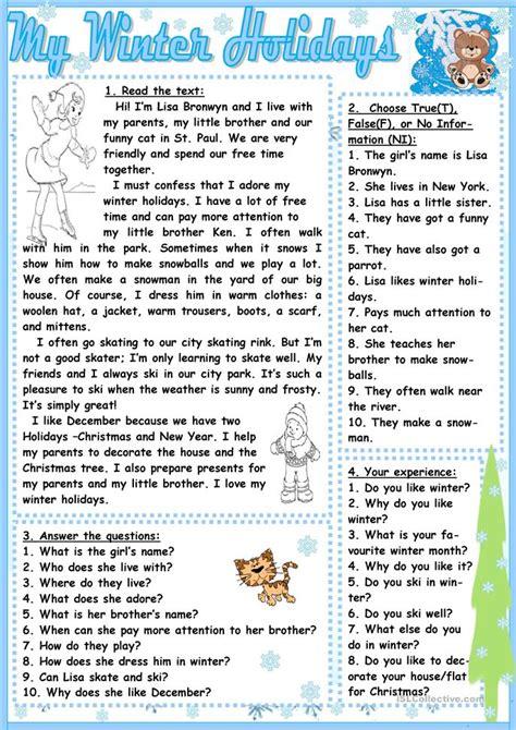 winter holidays worksheet  esl printable