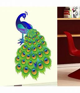 Stickerskart Slender Colourful Indian Peacock Design Wall