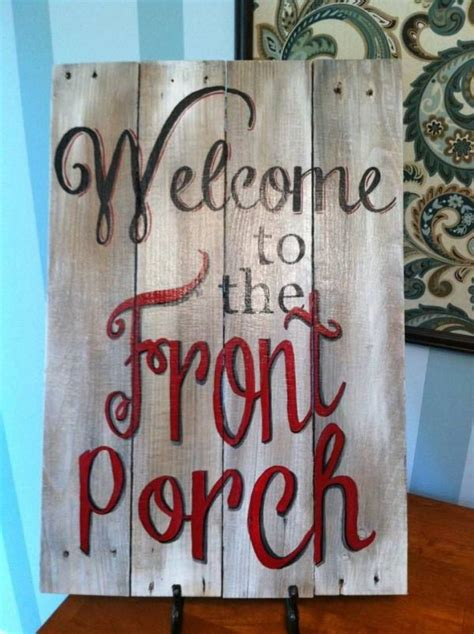 signs wood recycled painted hand rustic indulgy welcome sign