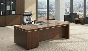 L Shaped Office Table In Luxurious Walnut Finish: Boss's Cabin