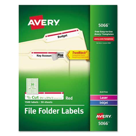 avery template 5066 avery 5066 permanent file folder labels trueblock laser inkjet 1500 box ave5066