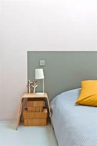 Tete De Lit Simple : d co chambre cr er une t te de lit en peinture originale c t maison ~ Nature-et-papiers.com Idées de Décoration