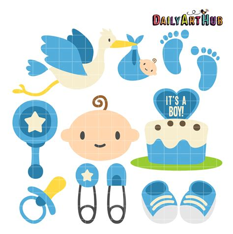 boy baby shower clip art set daily art hub