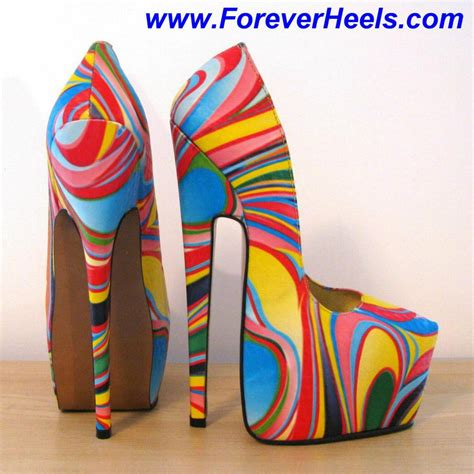 colored heels multi colored psychedelic rainbow heels high heels daily