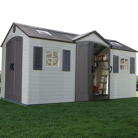 plastic sheds lifetime 15 x 8 dual entrance plastic shed