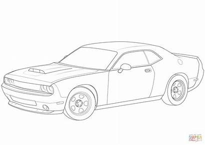 Challenger Dodge Coloring Printable Demon Charger Drawing