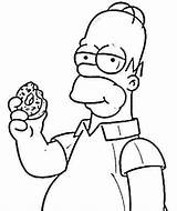 Simpson Homer Randys Homero Doughnut Coloringcity Rhodes Simpons Antigos Crespón Comiendo Rosquilla Ambok Esponja sketch template
