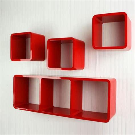 Étagère Cube Murale De 4 Piéces Rouge  Achat Vente
