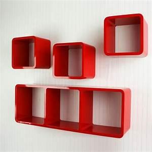 Etagere Murale Rouge : tag re cube murale de 4 pi ces rouge achat vente etag re murale tag re cube murale rouge ~ Teatrodelosmanantiales.com Idées de Décoration