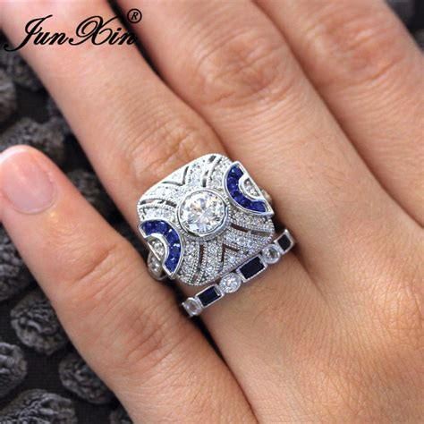 crystal blue square ring cute bridal wedding rings 925 sterling silver filled zircon