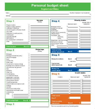personal budget template sheets printable budget template 10 free pdf documents free premium templates