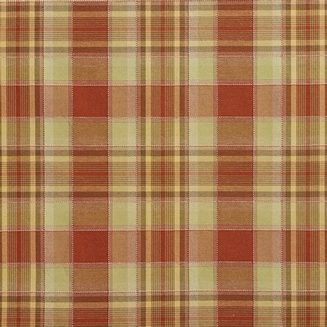 plaid drapery fabric light green and orange country plaid upholstery fabric by