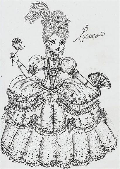 Rococo Deviantart Coloring Pages Princesses Drawing Princess