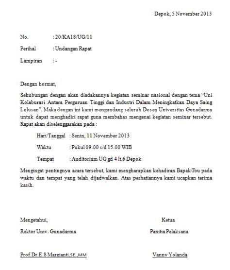 contoh undangan meeting resmi contoh isi undangan