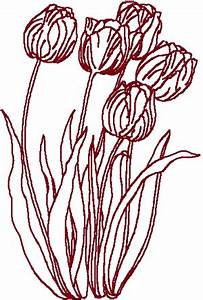Free Christmas Machine Embroidery Designs Redwork Tulips Embroidery Design