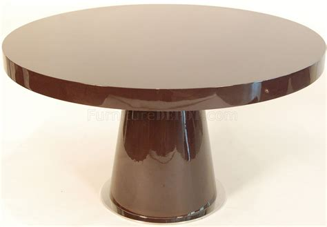 high round dining table brown high gloss lacquer finish modern round dining table