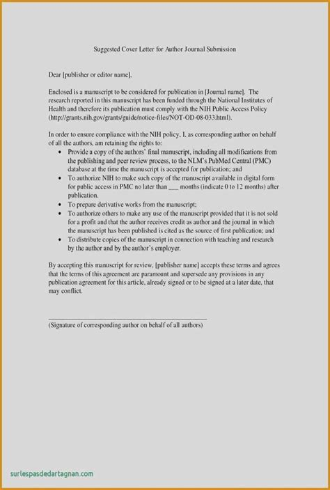 Exle Of A Cover Letter by Cover Letter Journal Manuscript