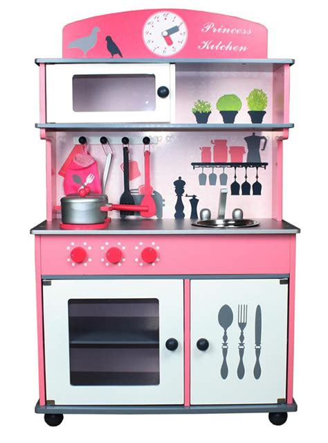 best play kitchen accessories nicko princess pink wooden children s play kitchen 4583