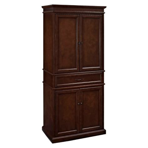 target kitchen storage parsons pantry storage wood mahogany crosley target 2672