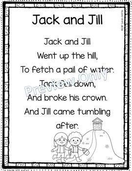 jack  jill printable nursery rhyme poem  kids