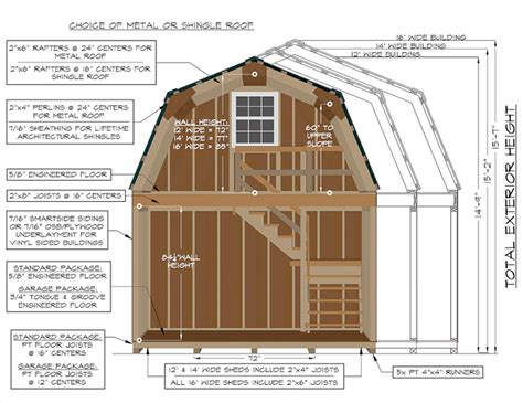 10x20 Shed Plans With Loft by Two Story Barns Pine Creek Structures