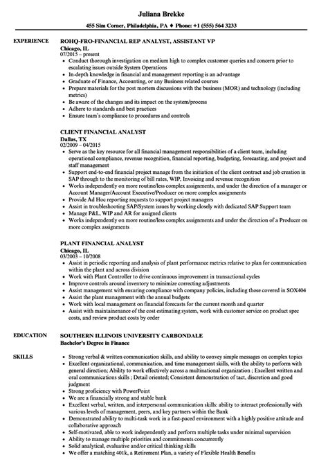 Financial Analyst Resume by Resume Exles Financial Analyst Vvengelbert Nl